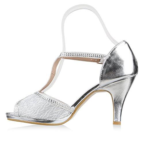 2ce832aee04b54 Damen Stiefelparadies Lack Riemchensandaletten High Abiball Abendschuhe  Flandell Silber Glitzer Bexhill Sandaletten Strass Schuhe Stiletto Heels ...