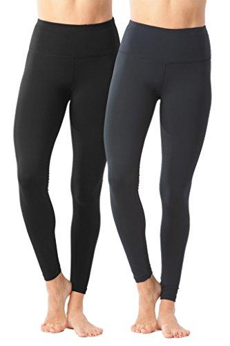 90 Degree By Reflex High Waist Power Flex Legging – Tummy Control - Black and Blackened Pear 2 Pack - Small