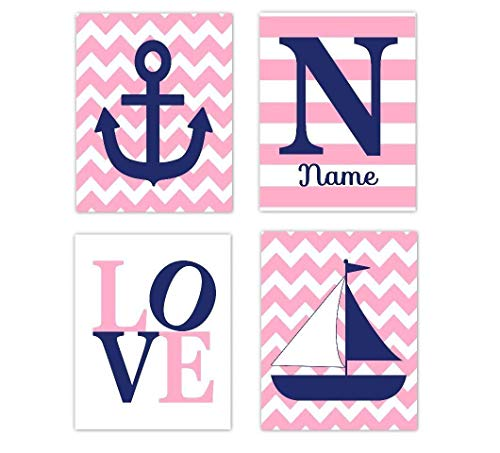 Nautical Baby Girl Nursery Decor Pink Navy Blue Sailboat Anchor LOVE Personalized Name Art Nautical Baby Nursery Decor Prints SET OF 4 UNFRAMED ()
