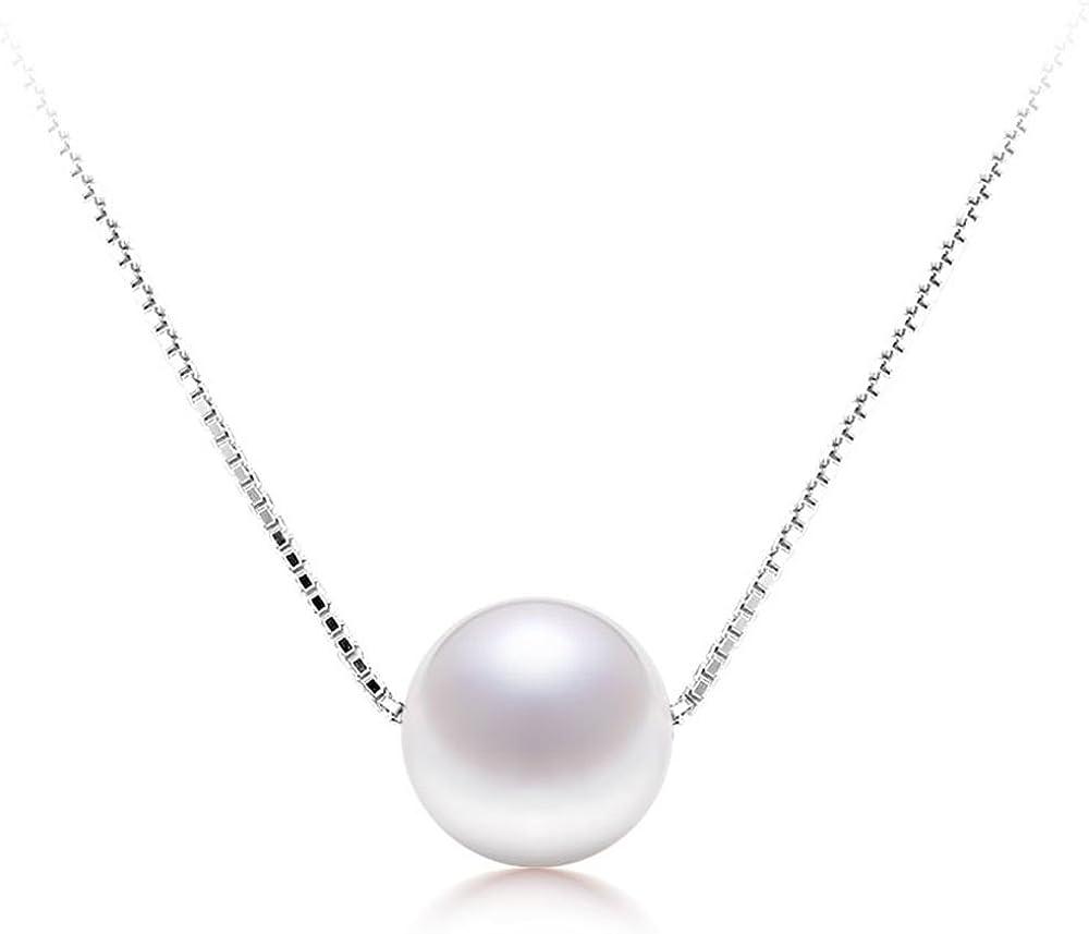 Cadena de collar de plata de ley 925 con colgante de perla blanca cultivada en agua dulce, de DACHMA®