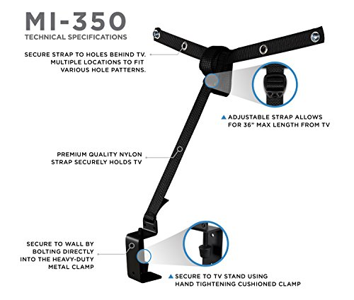 Mount-It! TV Safety Straps For Child and Baby Proofing, Anti-Tip Prevention and Earthquake Protection, Heavy-Duty Metal Connectors, Secures to TV Stand and Walls by Mount-It! (Image #4)