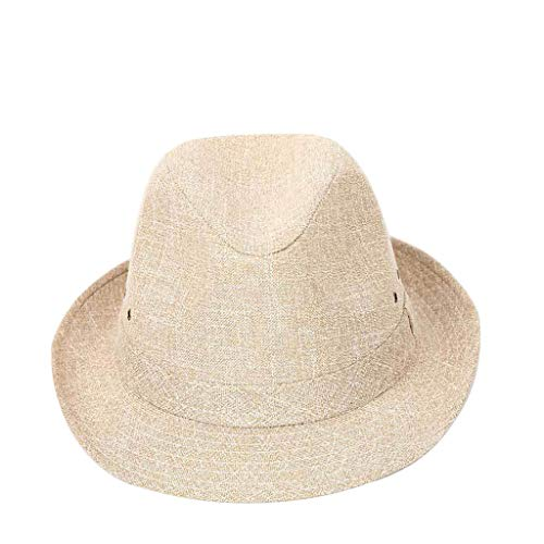 FEDULK Unisex Trilby Gangster Cap Crushable Wide Brim Felt Floppy Solid Fedora Jazz Cap Outdoor Panama Hat(Yellow, 57)