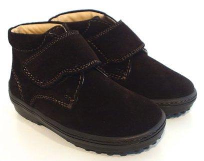 Italienische Wildleder Leder Halbschuhe Boots Noppensohle braun Klettverschluss