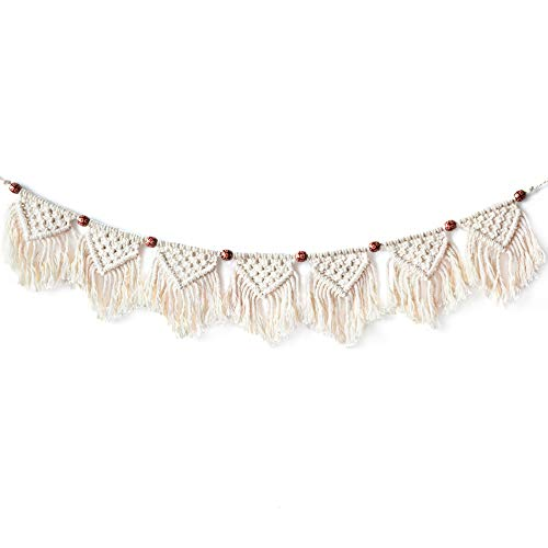 Feezen Macrame Woven Wall Hanging Fringe Garland Banner - Boho Chic Bohemian Wall Decor - Apartment Dorm Living Room Bedroom Decorative Wall Art, 9