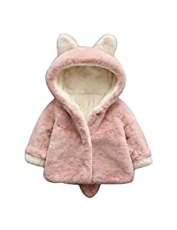 Fasuit Unisex Baby Kids Faux Fur Coat with Ears Thick Cotton Hoodie Jacket