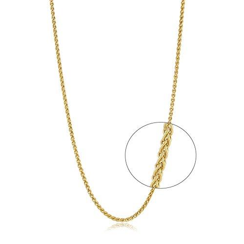 10K 14K 18K Yellow White Gold Round Wheat Chain Lobster Claw 18