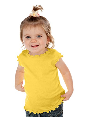 Girls Lettuce Edge - Kavio! Infants Lettuce Edge Scoop Neck Cap Sleeve Top Yellow 24M