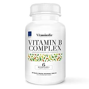 Vitamin B Complex | Suministro para 6 Meses (180 Comprimidos) | Vitaminas del Grupo B (B1, B2, B3, B5, B6, B7 o Biotina, B9, B12 ) + B10 (PABA o ácido paraaminobenzoico) | Calidad de Vitaminalia