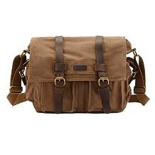 Kattee Canvas Cow Leather DSLR Camera Shoulder Messenger Bag