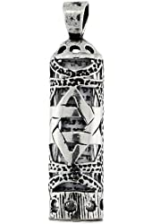 Sterling Silver Mezuzah Pendant w/ Star of David Cut Outs, 1 inch