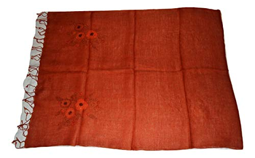 (100% Flax Linen Scarf, Hand Stitch Embroidery & Applique Work LINEN Scarf/Stole. (Burnt)