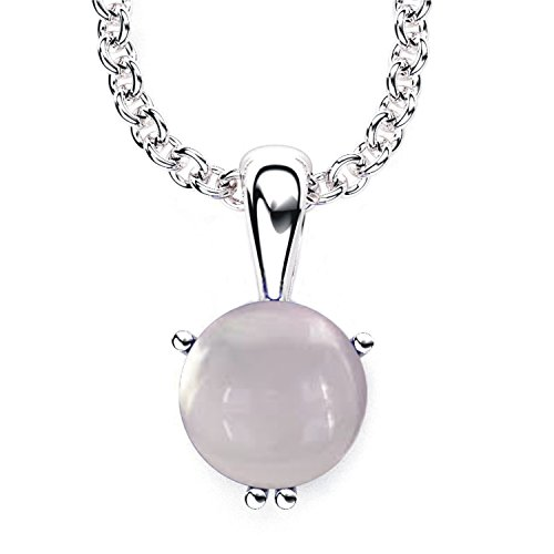 (3 Carats 10mm Round Solitaire Shaped Rose Quartz Cabochon Pendant Necklace with 17.5