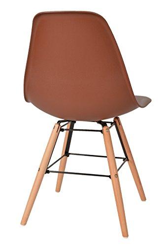 TS-ideen Chaise de Table Design Classique Années 50 Rétro Bois Marron
