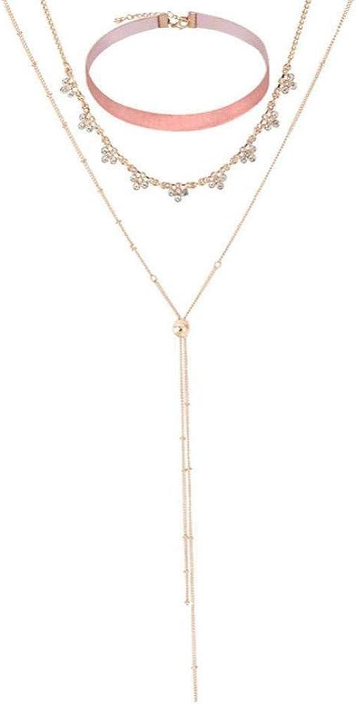 Collar clásico multicapa, collar a ras de cuello, collar de piedras preciosas, collar de pompón, collar largo