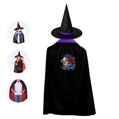 69PF-1 Halloween Cape Matching Witch Hat Dead Skeleton Woman Rose Wizard Cloak Masquerade Cosplay Custume Robe Kids/Boy/Girl Gift -