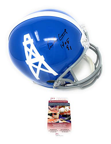 Earl Campbell Houston Oilers Signed Autograph Blue Throwback Full Size Helmet HOF Inscribed JSA Witnessed Certified ()