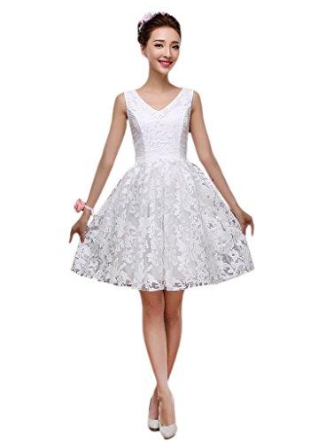 Para Vimans Mujer Trapecio Vestido Blanco OOq6R7