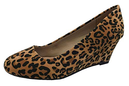 Forever Womens Round Toe Leopard Print Wedge Pumps, Leopard, 10