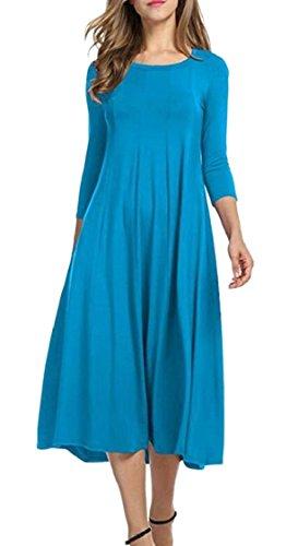 Jaycargogo Crewneck Womens Party Solid Elegant 2 Midi Colored Dress qHqxvnwr