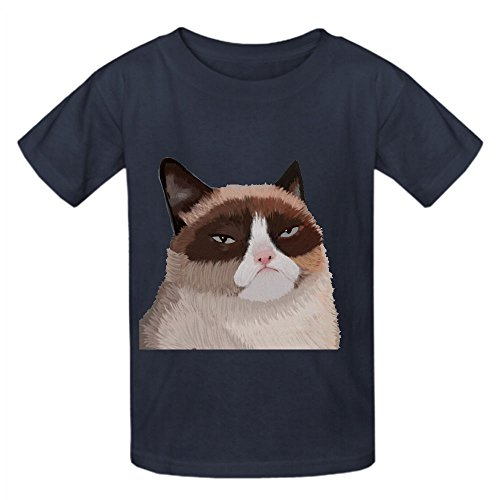 Price comparison product image Grumpy Cat Oog Boys' Crew Neck Customized Shirts Grey