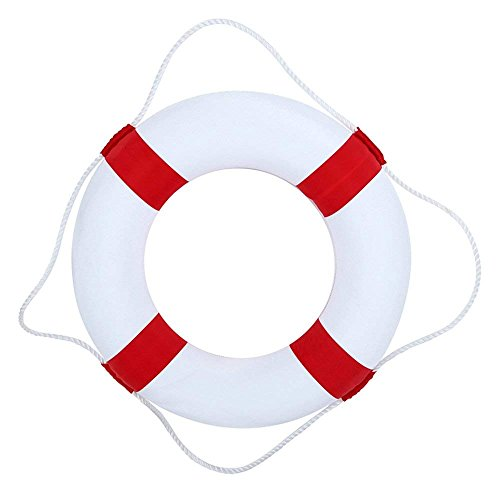 50cm (19.7in)diameter Swim Foam Ring Buoy Swimming Pool Safety Life Preserver W/nylon cover kid child adult(red)