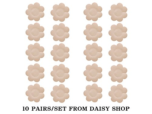 Breast Daisies (Nipple pasties One-off pasty bra Breast petals cover 10 PAIRS (NUDE))