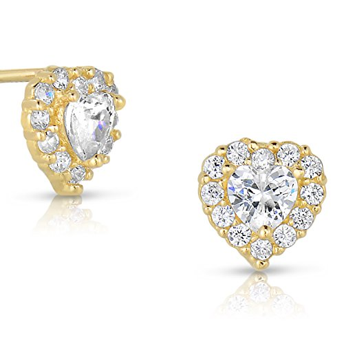 Tiny 14k Yellow Gold Heart Stud Earrings in Cubic Zirconia CZ with Screw Backs