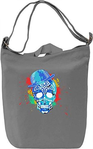 Blue Skull Borsa Giornaliera Canvas Canvas Day Bag| 100% Premium Cotton Canvas| DTG Printing|