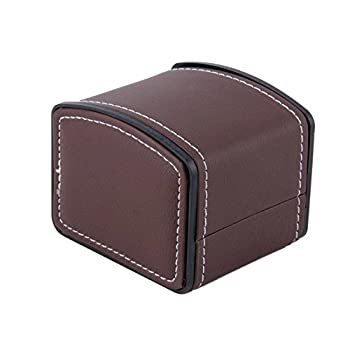 Leather Watch Box with Pillow Watch Packaging For Bangle Earring Wrist Watch-Brown