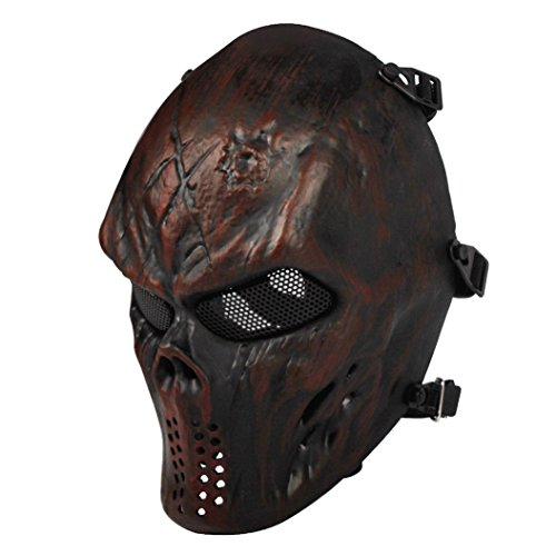 Airsoft Mask Full Face Masks Skull Skeleton with Metal Mesh Eye Protection Army Fans Supplies M06 Tactical Mask for Halloween BB Paintball Gun Patriots CS Game Cosplay and Masquerade Party (Copper)