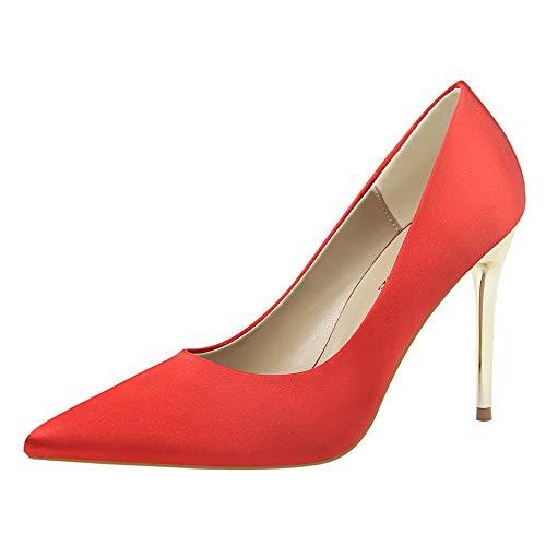 Satinado Tacones zapatos 37 Seda tacón Elegantes Zapatos Satén Yukun Red Bajo alto De De Negro Altos de Profesionales Azul Mujeres Stiletto Verde Acentuados qwdRx8Y7