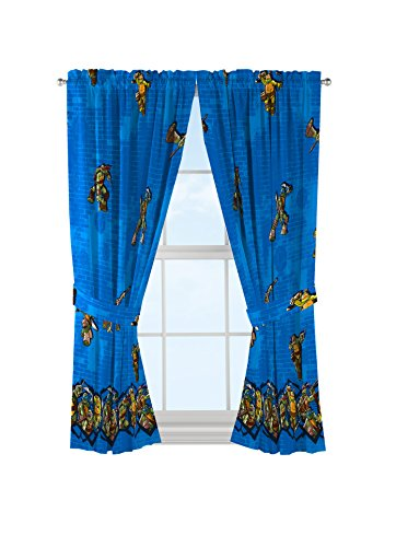 Nickelodeon Teenage Mutant Ninja Turtles 'Mean Green' Blue Curtains/Drapes 4 Piece Set (2 Panels, 2 (Ninja Turtles Room)