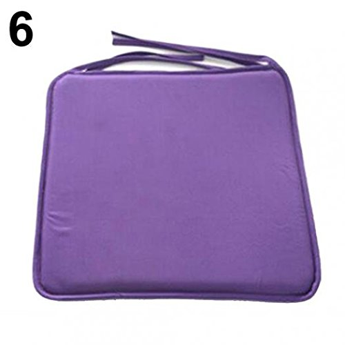 Qsbai Removable Seat Pad Dining Garden Outdoor Patio Pillow Solid Tie On Chair Cushion - Purple ()