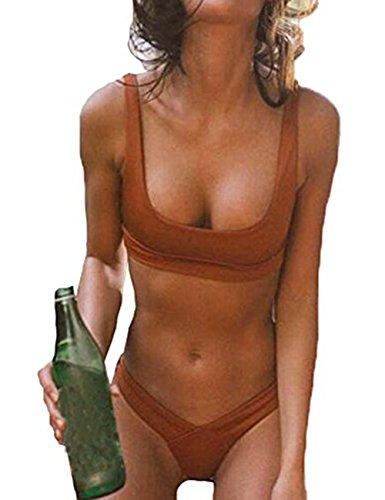 Gogoboi Sexy Women Swimwear Two-piece Push Up Bikini Swimsuit (M, - Bikini Brown Womens