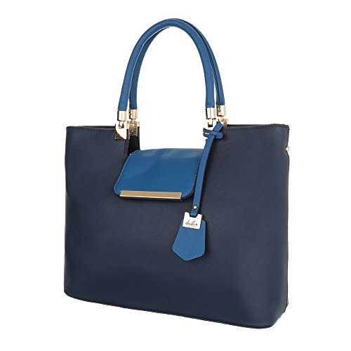Ital-Design - Bolso al hombro de Material Sintético para mujer azul oscuro