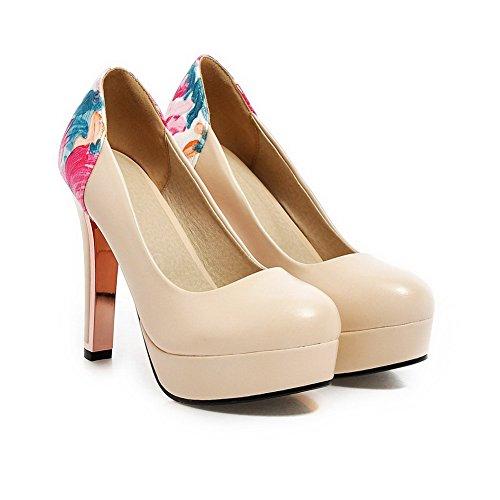 AllhqFashion Damen Rund Zehe Ziehen auf PU Leder Hoher Absatz Pumps Schuhe Cremefarben