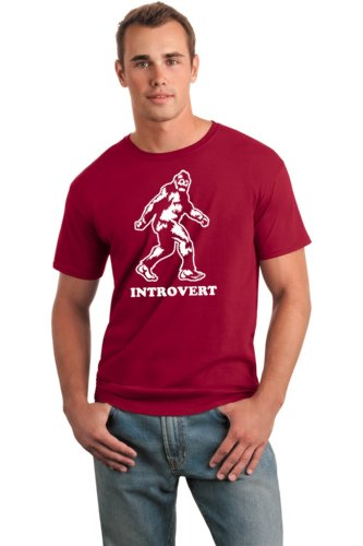 Bigfoot Introvert Sasquatch Funny Novelty T Shirt (Medium, Red)