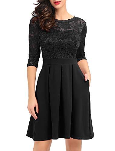 Noctflos Women's Black Vintage Lace Cocktail Party A-Line Dress with Pockets