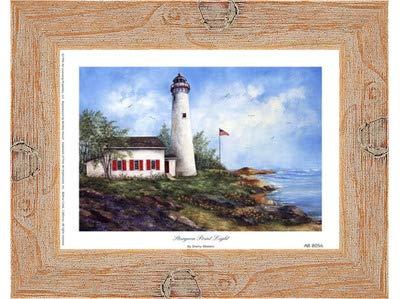 (Poster Palooza Framed Sturgeon Point Light- 8x6 Inches - Art Print (Natural Knotty Frame))