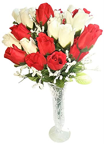 (Artificial Rosebud Rose Flowers Baby's Breath Bushes Bouquet in Elegant Vase - Red & White Silk Roses - 24 Tip Heads - Wedding Floral Decor, Fake Flowers Home Decor, Office, Bridal, Party, More!)
