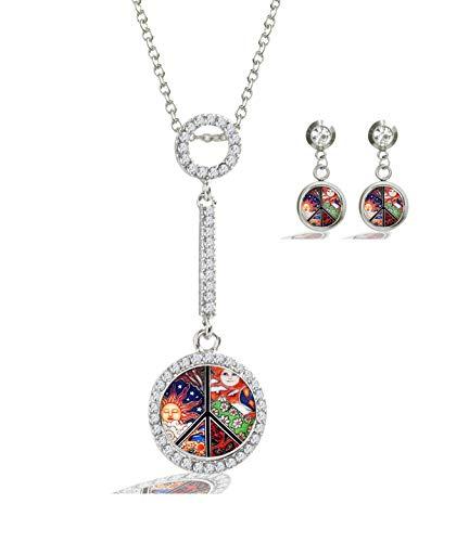 (XuSuJuan Image Custom Design Charm Crystal Rhinstone Silver Plated Glass Pendant Necklace Stud Earrings (Peace Sign))