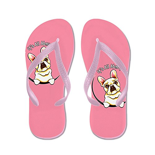 26309f4213b18 cheap CafePress - Fawn Frenchie IAAM Pink - Flip Flops