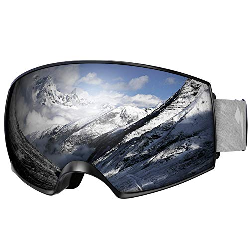 WhiteFang Ski Goggles PRO for Men Women & Youth, Over Glasses Anti-Fog UV400 Protection Snow Goggles, Magnet Dual Layers Lens Snowboard Goggles OTG