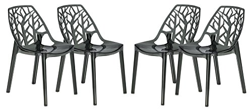 LeisureMod Cornelia Cut-Out Tree Design Modern Dining Chairs, Set of 4 (Transparent Black)