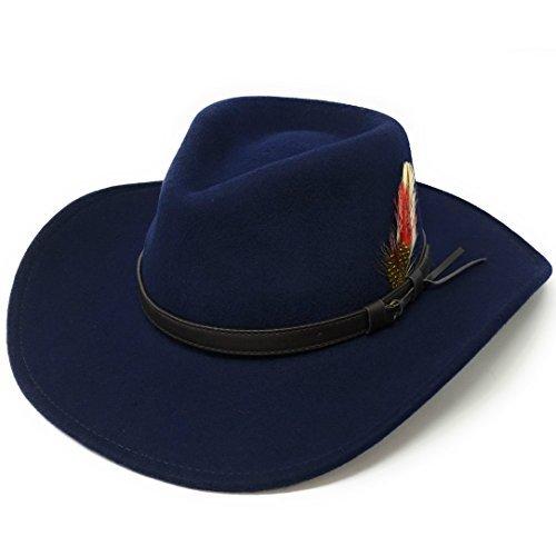 Safari Style Cowboy Fedora Hat with Large Brim. Wool Felt. Crushable. Colours: Black, Brown, Navy, Camel, Green. Sizes: S-XL (Large - 59cm/23.22
