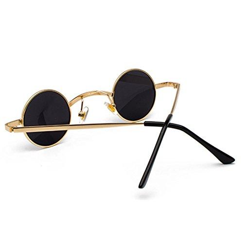 Marco Negro de Gafas Gris de Lente unisex Aiweijia metal redondas de pequeñas Gafas sol policarbonato Dorado wqU6AX