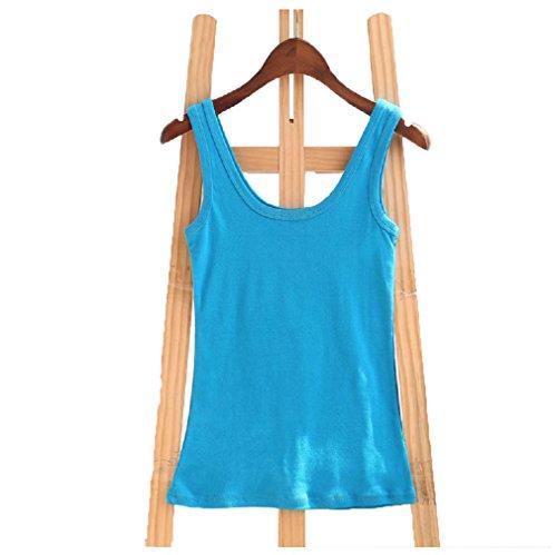 Wenseny Mujer BXA Cuello Redondo Camiseta Sin Mangas Tank Top Lago Azul