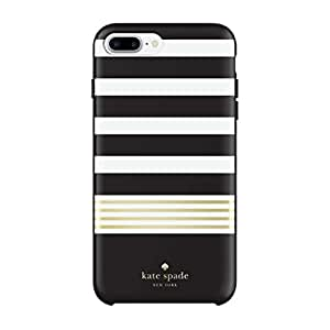 Kate Spade New York Phone Case | for Apple iPhone 8 Plus and iPhone 7 Plus | Protective Phone Cases with Liquid Glitter Design and Drop Protection - Stripe 2 Black/White/Gold