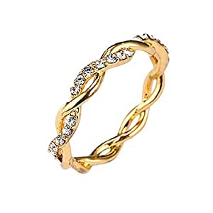 Niome 24K Gold Twisted Crystal Diamond Ring Women's Engagement Wedding Bridal Rings Gold-US 10