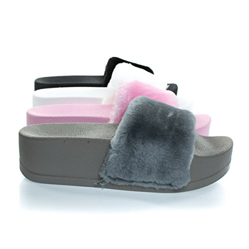Manisa Gray High Platform Slide in slipper Sandal w Faux Fur Strap, Molded Sole -9 ()